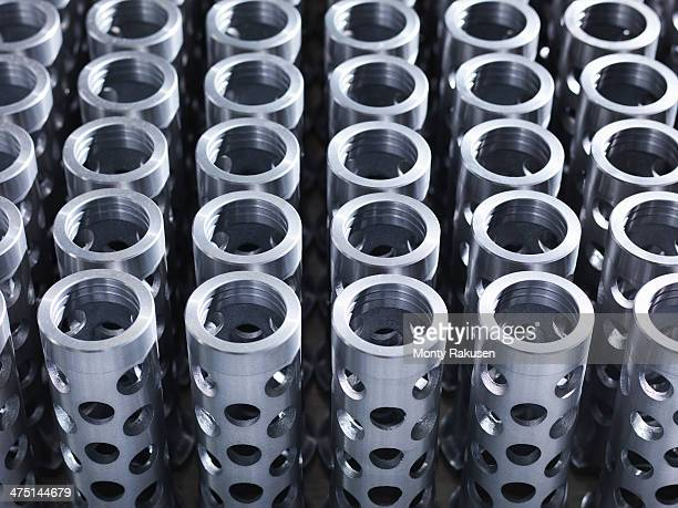 Large group of engineered parts in factory