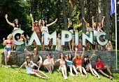 Large Group Of Enthusiatic Young Campers