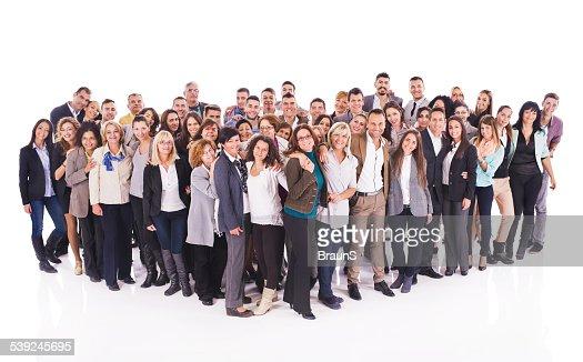 Feliz acogido con gran grupo de gente de negocios.