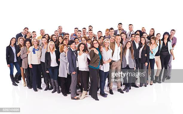 Large group of happy embraced business people.