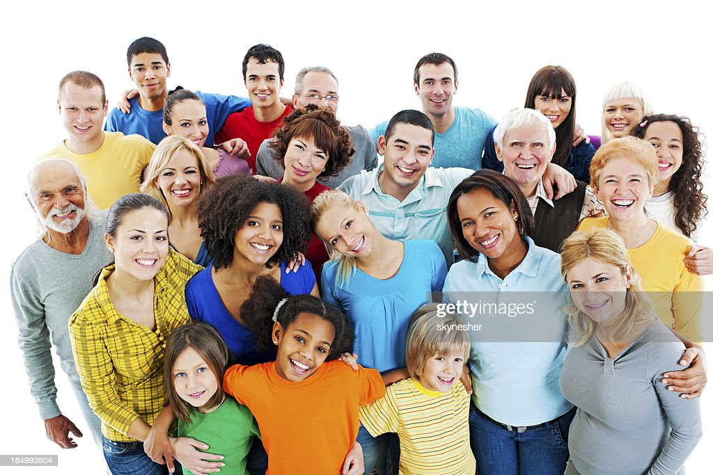Large Group of Happy People standing together. : Stock Photo