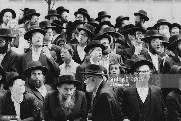 A large group of Hasidic Jewish men and boys in New York City 1986