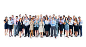 Large group of international business colleagues clapping hands