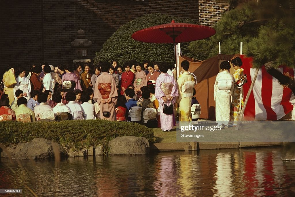 Large group of people at a tea ceremony, Tokyo Prefecture, Japan : Stock Photo