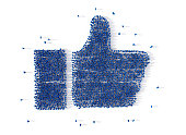 Large group of people forming a thumb up icon on white. Social media concept. 3d illustration