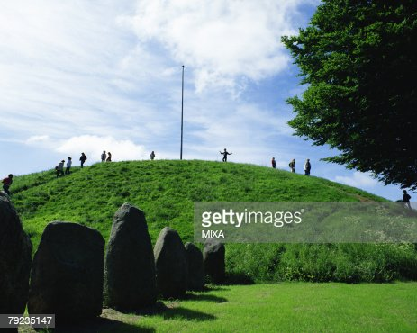 Large group of people in Jelling Mounds, Denmark : Stock Photo