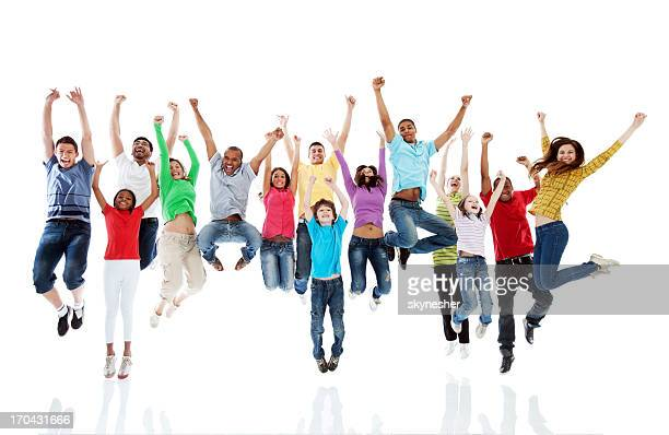 Große Gruppe von Menschen springen zusammen.