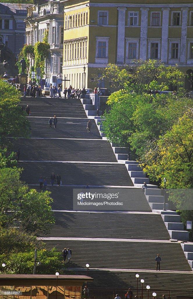 Large group of people on stairs, Potemkin, Odessa, Ukraine : Stock Photo