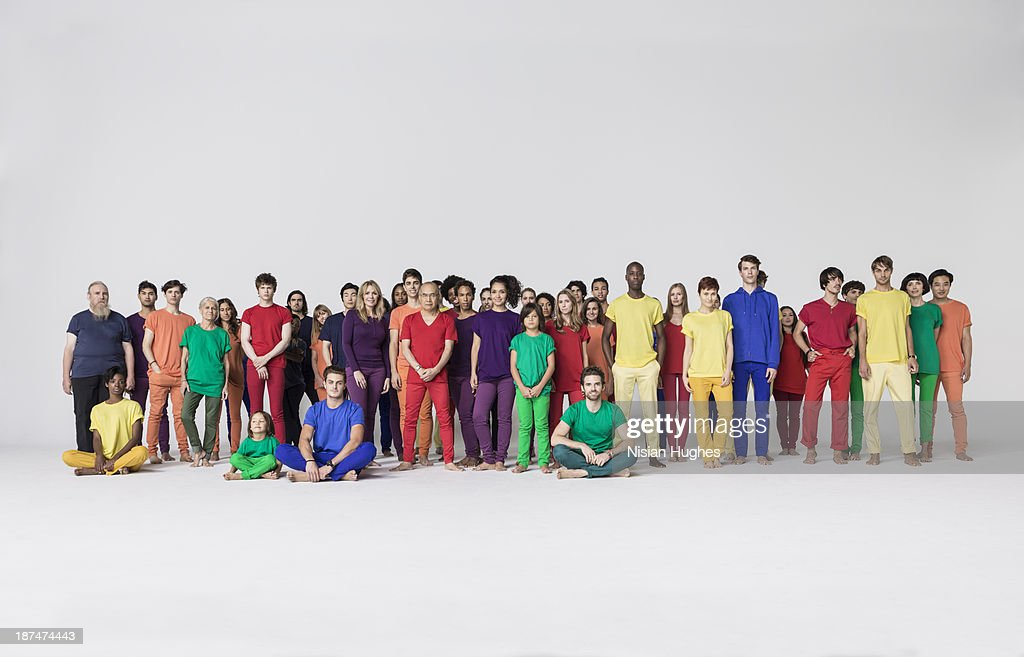 Large Group of people standing together in studio
