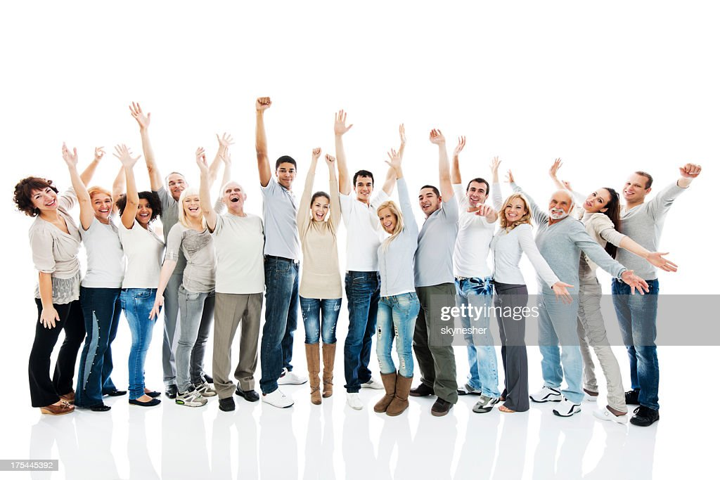 Large group of people standing together with raised arms. : Stock Photo
