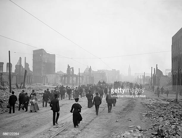 Large Group of People Walking Along Ruins of Market Street toward Ferry after Earthquake San Francisco California USA circa 1906