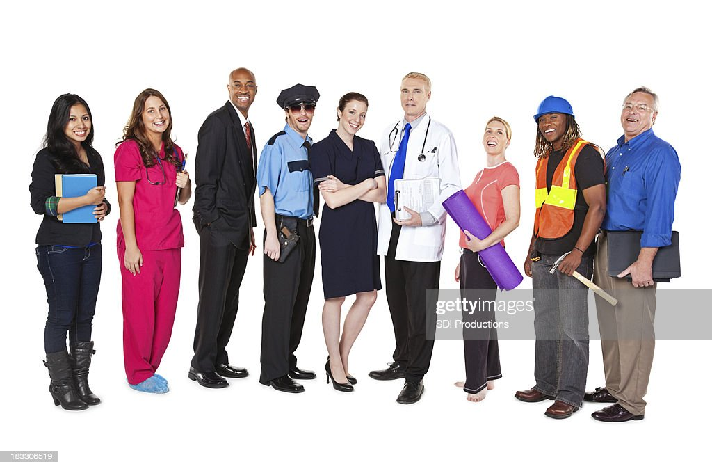 Large Group of Professionals with Different Occupations : Stock Photo