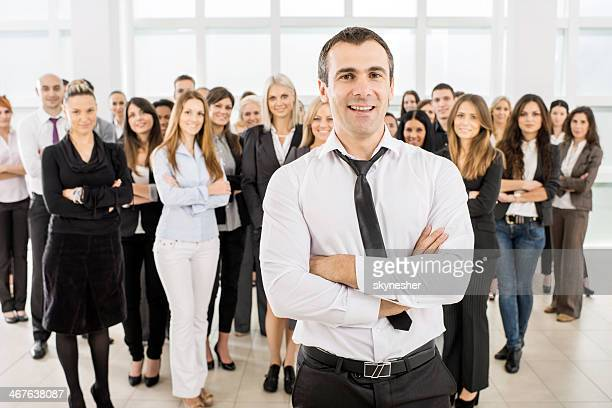 Large group of smiling business people.