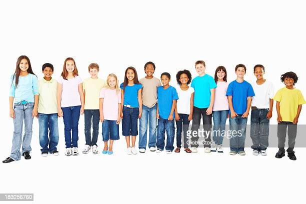A large group of smiling children in a row