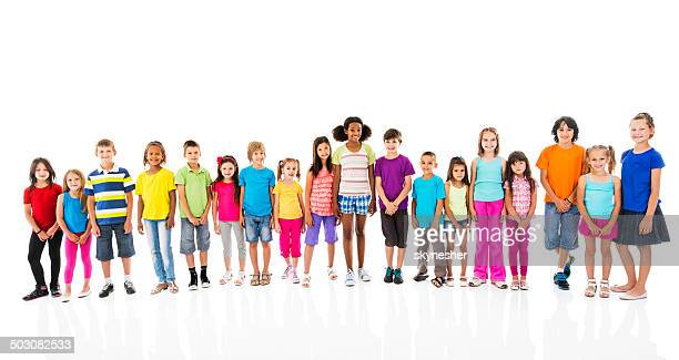 Large group of smiling children.