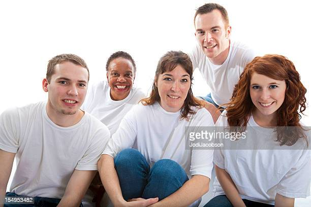 Large group of smiling multi ethnic people