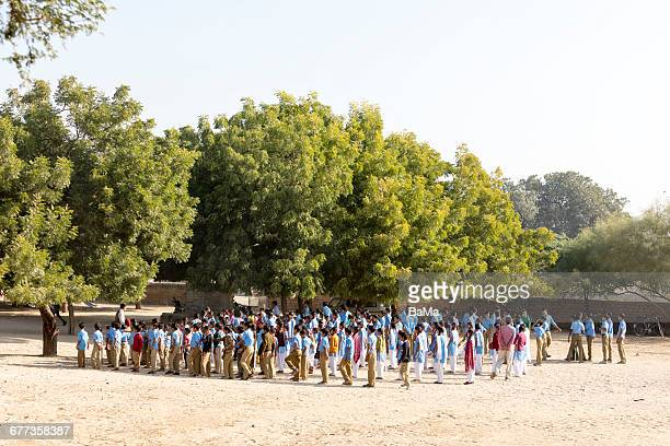 Large group of students on schoolyard