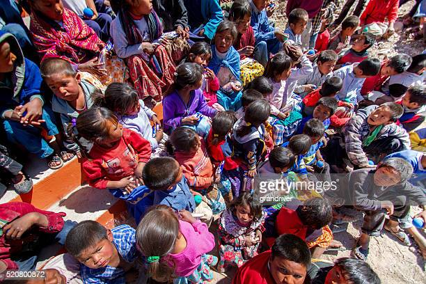 Large Group of Tarahumara Children In the Sierra Madre Mountains