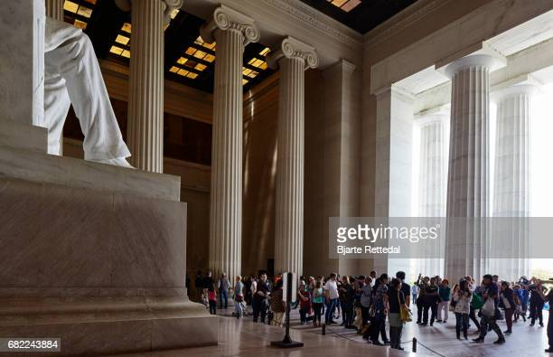 Large Group of Tourists at the Lincoln Memorial in Washington DC.