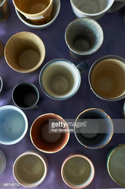 Large group of traditional Japanese ceramics,  overhead view