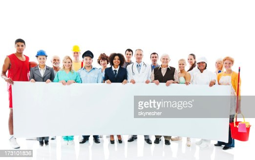 Large Group of Various Occupations people holding blank paper.