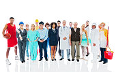 Large Group of diversity occupations people standing  together. Isolated on white background.