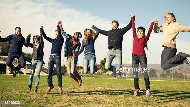 Large group of young jumping people - Student leisure