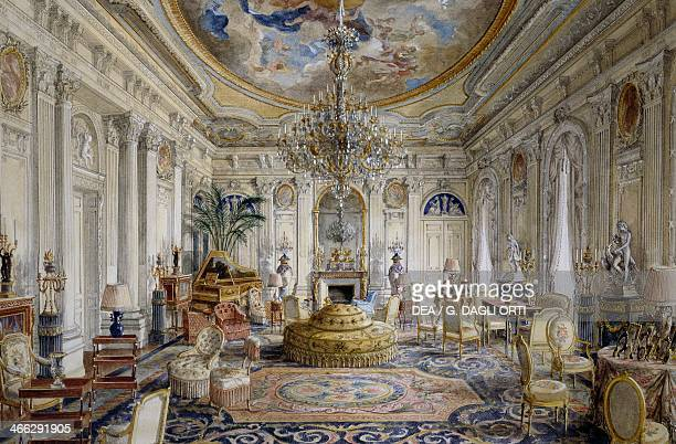 Large hall or Louis XVI style white hall Chateau de Ferrieres watercolour by Alexandre Serebriakoff