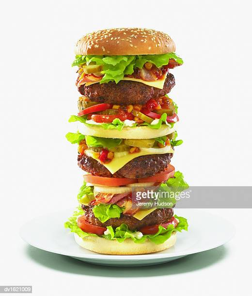 Large Hamburger on a Plate