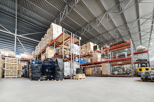 Large hangar warehouse industrial and logistics companies : Stock Photo