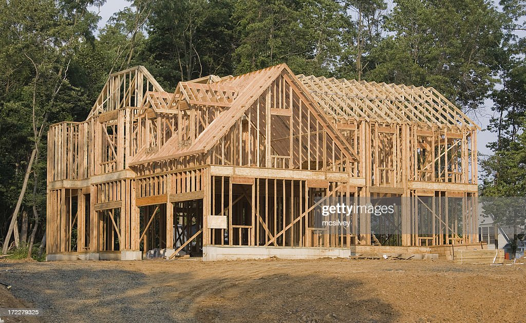 Large house framing stock photo getty images for Construction maison en bois orleans