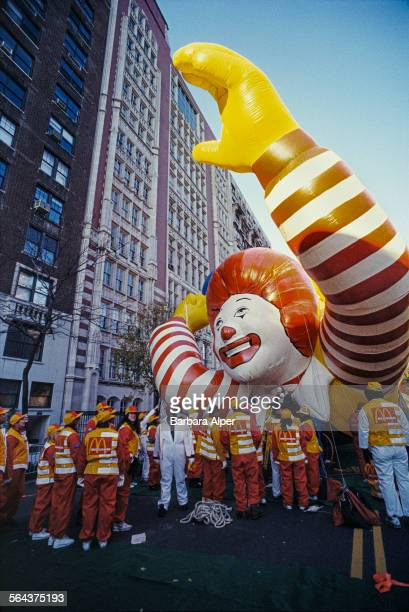 A large inflatable Ronald McDonald on the street during the Macy's Thanksgiving Day Parade New York City USA 27th November 1986