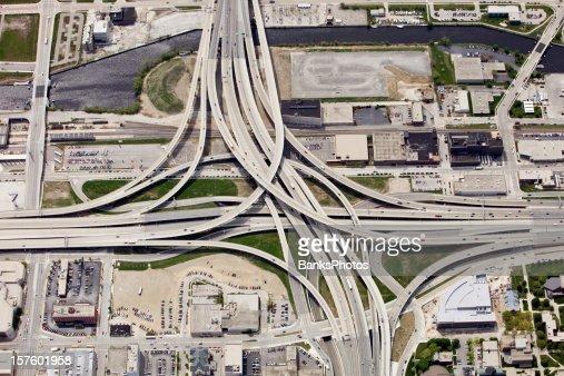 Large Interstate Highway Interchange in Downtown Milwaukee Wisconsin