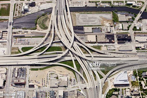 Large Interstate Highway Interchange in Downtown Milwaukee Wisconsin