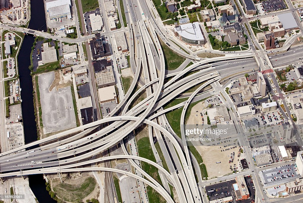 Large Interstate Highway Interchange in Downtown Milwaukee Wisconsin : Stock Photo