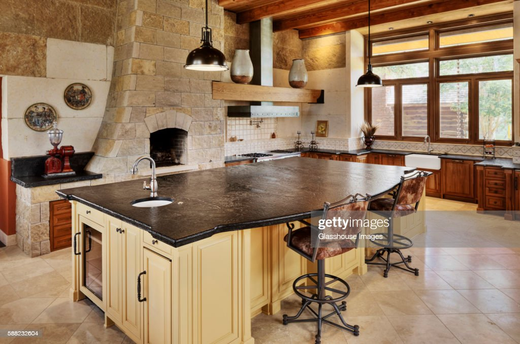 Large Kitchen Island in Traditional Kitchen