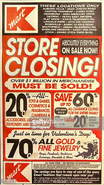 A large Kmart advertisement in a local newspaper is shown February 7 2003 in Southfield Michigan Kmart plans to close approximately 323...
