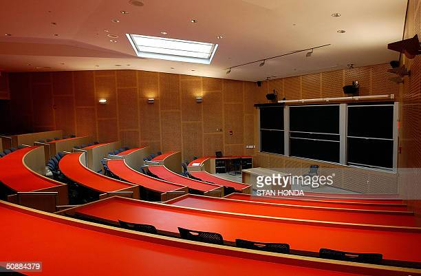 A large lecture hall in the newest building designed by architect Frank Gehry the Ray and Maria Stata Center for Computer Information and...