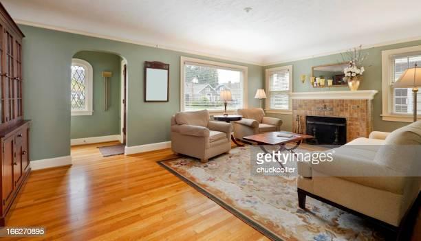Amplia sala de estar con chimenea y alfombrilla