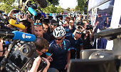 A large media presence surrounds Lance Armstrong as he prepares to ride with Cure Leukaemia charity riders during stage thirteen of the One Day Ahead...