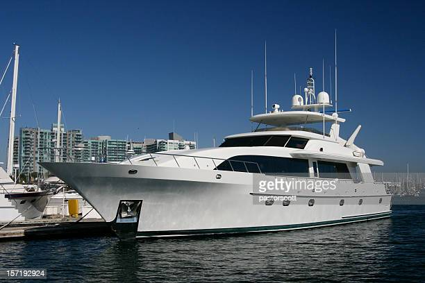 Large Mega Yacht in White