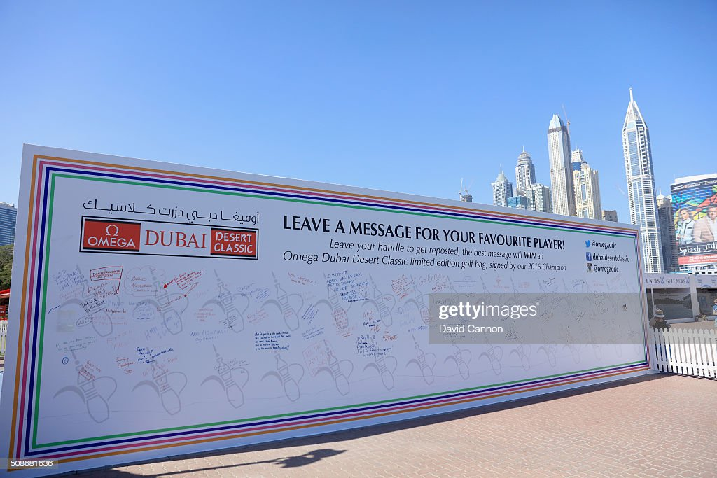 A large message board where fans can leave messages for the players placed behind the driving range during the third round of the 2016 Omega Dubai Desert Classic on the Majlis Course at the Emirates Golf Club on February 6, 2016 in Dubai, United Arab Emirates.