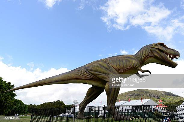 A large model TRex dinosaur named Jeff is seen during round one of the Australian PGA at the Palmer Coolum Resort on December 13 2012 in Sunshine...