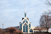 Recently constructed church in a suburban setting.