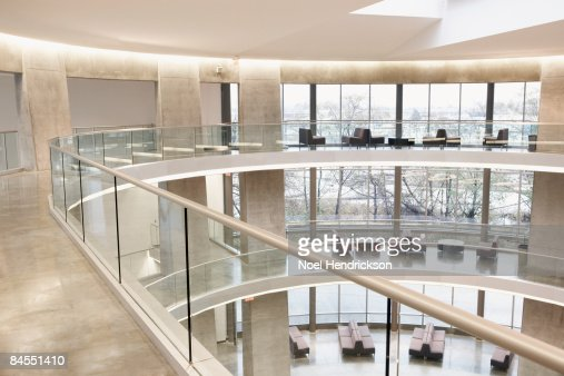 large modern interior, three floors : Stock Photo
