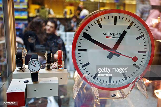 A large Mondaine clock sits in the window display of a store at the main train station in Zurich Switzerland on Saturday Dec 10 2011 Switzerland's...