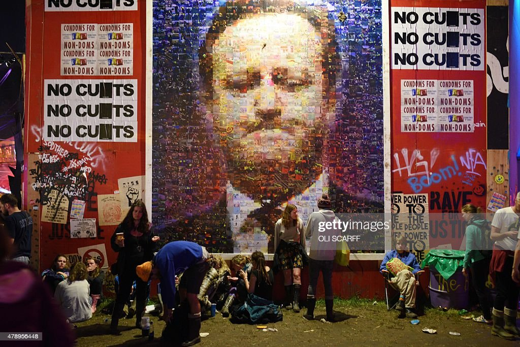 A large mural depicting British Prime Minster David Cameron is displayed in the Hell section of the Shangri La area of the Glastonbury Festival of...