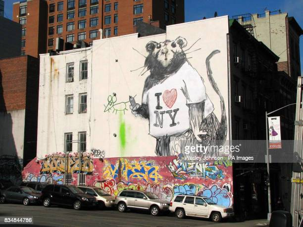 A large mural of a rat wearing an 'I Love New York' tshirt on a wall on Wooster and Grand Street in New York City it is though to be the elusive...