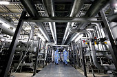 A large number of pipes and freezing equipment take up much of the space of Tokyo Electric Power Co's refrigerator plant at the embattled Fukushima...