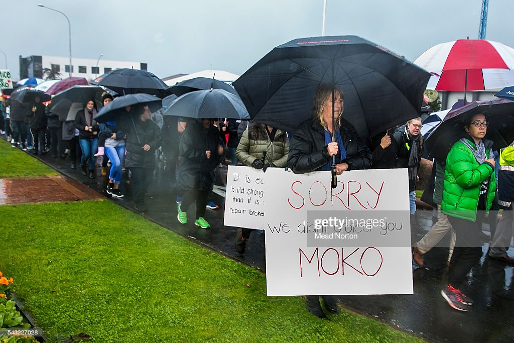 A large number of protesters are seen in Rotorua despite the rain on June 27, 2016 in Rotorua, New Zealand. Three year old toddler Moko Rangitoheriri died on August 10, 2015 from injuries he received during prolonged abuse and torture at the hands of his carers. His killers Tania Shailer and David Haerewa were sentenced at Rotorua High Court today.